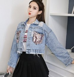 1bc2c4aaa50 Plus Size Cropped Denim Jackets NZ - Plus Size Oversized Korean Vintage  Ripped Patchwork Contrast Sequin