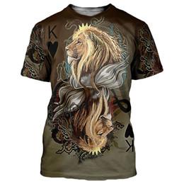 9a4e12ae3 wholesale 2018 3D T-shirt Men Women Poker King Lions Lamb 3D Print Short  Sleeves Tees Shirts Summer Tops Streetwear