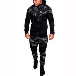 Cardigan Suits Australia - Mens Running Camouflage Hooded Tracksuits Panelled Cardigan Fashion Sets Long Sleeve 2pcs Gym Suits