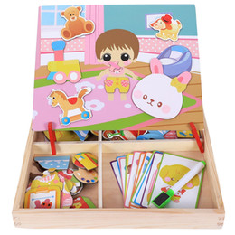boy toy puzzle NZ - Magnetic Fun Jigsaw Children Wooden Puzzle Board Box Pieces Games Cartoon Educational Drawing Baby Toys For Girls Boys, Ba