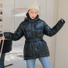 Wholesale lining soft jacket resale online – Glossy Warm Women Hooded Coat Solid Soft Cotton Padded Jackets Female Women Slim Belt Winter Parkas Jacket Coat New DT191023