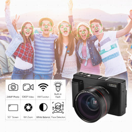 "video camera full hd lens NZ - Portable Digital Camera DC Full HD 1080P 24MP+3"" Screen Photo Video Shooting Wifi Face ID with Ultra Wide Angle Lens 2 Batteries"
