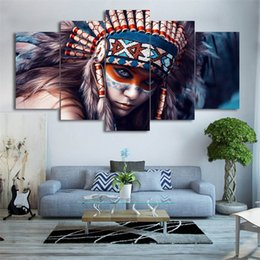 paintings american indians Australia - American Indians Girl,5 Pieces HD Canvas Printing New Home Decoration Art Painting (Unframed Framed)