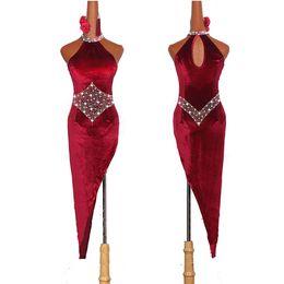 $enCountryForm.capitalKeyWord UK - High Quality Latin Dancing Dresses For Ladies Burgundy Elegant Fringe Skirt Women Stage Ballroom Compete Feminine Costumes