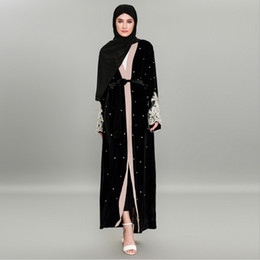 $enCountryForm.capitalKeyWord UK - Muslim Velvet Abaya Beading Long Robe Tunic Kimono Ramadan Islamic Clothing Worship Service Cardigan Embroidery Lace Maxi Dress