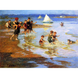 children beach paintings Australia - Hand painted Edward Henry Potthast paintings Children at Play on the Beach Landscapes art paintings wall decor