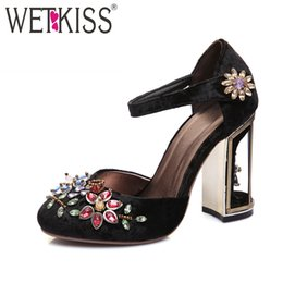 Discount cage heels WETKISS 2019 Floral Pleuche Shoes Women Pumps Luxurious Cutouts Bird Cage High Heel Crystal Female Vintage Pumps Big Siz