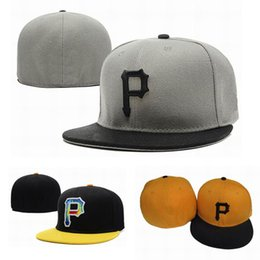 letter p hats UK - New Fashion Letter P Cap Fitted Hats Men Pittsburgh Flat Brim Embroidery Brand Designer Sports Team Fans Full Closed Chapeu Baseball Caps