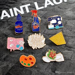 Jewelry Enamel Painting Australia - Enamel pins Toilet flower Sewing machine Palette pyramid paint Hand tools Brooch Button Pin Denim Jacket Pin Badge Gift Jewelry 370030