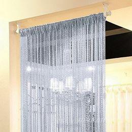 $enCountryForm.capitalKeyWord Australia - DIDIHOU 100x200cm Shiny Tassel Flash Silver Line String Curtain Window Door Divider Sheer Curtain Valance Door Treatment Home