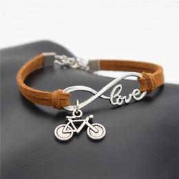 $enCountryForm.capitalKeyWord Australia - New Fashion Popular Women Punk Silver Infinity Love Cute Bike Cycling Bicycle Charm Brown Leather Suede Bracelets for Women Men Gift Jewelry