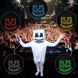 Ingrosso DJ Marshmallow Cosplay Mask LED Luminoso 8 colori Maschere Casco DIY EVA Puntelli Halloween Party Marshmello