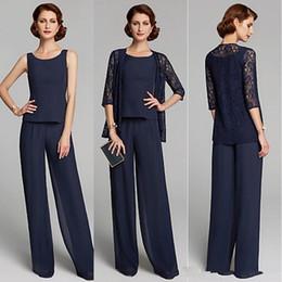 Plus Size Floor Length Suits Australia - Three Piece Mother of the Bride Dresses Plus Size Jewel Neck Floor Length Chiffon navy blue Lace Pants Suits Party Gowns