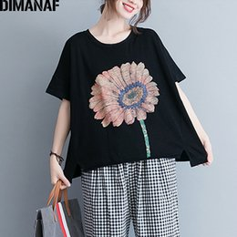 Basic Casual Loose Tees Australia - Dimanaf Women Tshirt Summer Basic Tops Tees Cotton Plus Size Black T-shirt Print Floral Femme Large Clothing Loose Casual 2018 Y19042501