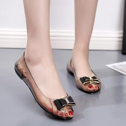 Wholesale 2019 Hot Sale womans shoes Summer Rhinestone Transparent Crystal Sandals Flat Jelly Fish Mouth Shoes escarpin femme BYY30