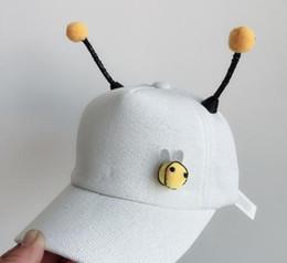 $enCountryForm.capitalKeyWord Australia - White New Kids'Cap Boys' And Girls'Lovely Duck Tongue Cap Korean Cartoon Bee Antenna Baseball Cap