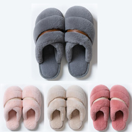 Discount warm flat shoes Non-Brand Winter Slipper for women men fur Sandals Triple Pink Blue Indoor Home Shoes Keep Warm Rubber Flat Sandals 37-4