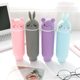 Discount rabbit pencils - Colorful Large Capacity Student Stationery Bag Silicone Cute Rabbit Bear Pen Bags School Supplies Scalable Pencil Organi