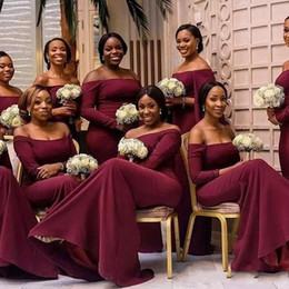 877dc6ce63fd4 Arabic African Burgundy Bridesmaid Dresses Off The Shoulder Long Sleeve  Mermaid Sweep Train Maid of Honor Formal Wedding Party Dresses