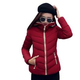 Feather Jackets Women UK - New Coats & Jackets 2019 Fashion Wine Red Parka Hooded Winter Jacket Women Winter Coat Women Zipper Down Jacket Female Coat