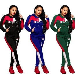 Wholesale baseball bat sleeve for sale – winter Women Champions Letter Tracksuit Long Sleeve Zipper Jacket Sweatshirt Pants Leggings piece Suit Brand Coat Outfits Baseball Clothes