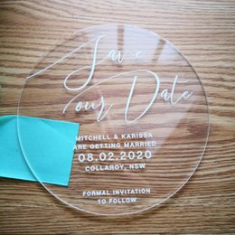 wholesale save date cards Canada - Acrylic material invitation  save the date card muti color and shape options