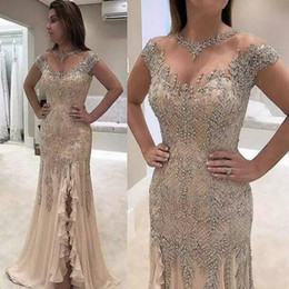 HigH neck sleeveless evening dresses online shopping - Mermaid Evening Dresses Plus Size Beading Sequined High Side Split Elegant Mother of the Bride Dresses Evening Party Gowns