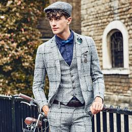 Suits Case Australia - New mens suits double breasted Leisure suit of Scotland case grain Suitable for autumn and winter suit, too(Coat + pants + vest)