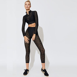 full sexy yoga Australia - Sexy Leopard Women Yoga Outfits Fashion Lace Long Sleeve Yoga Sets High Quality Quick Dry Fitness Wear