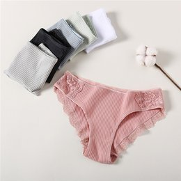 lower clothing wholesale Australia - 1 PC Women Low waist Cotton Women's Shorts Women's Clothing Female Lace Stripe Panties Ladies Comfortable Floral Underpants Woman Girls Pant