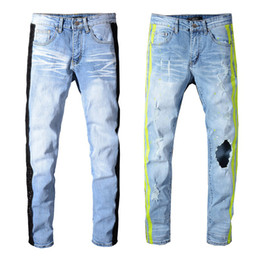 Chinese  Sneakers MIRI Wholesale Blue Pants Jeans Designer 350 Pants Straight Biker Skinny Loophole Jeans Men Women hole jeans manufacturers
