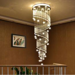 Spiral hallway chandelier online shopping - Modern LED long spiral crystal staircase chandelier lighting round design hallway creative restaurant hanging light fixtures led k9 lamp