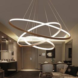 $enCountryForm.capitalKeyWord NZ - 60CM 80CM 100CM Modern Pendant Lights For Living Room Dining Room Circle Rings Acrylic Aluminum Body LED Ceiling Lamp Fixtures