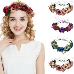 d3a8dc8406c Bohemian Hair Crown Rose Flower Bridal Floral Crown Cute Hair Band Wreath  Mint Head Wreath Wedding Bridesmaid Women Hair Accessories