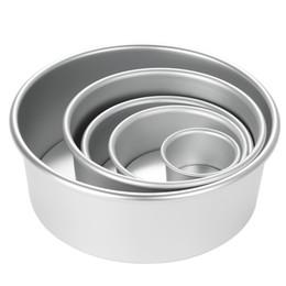 $enCountryForm.capitalKeyWord Australia - 5pcs set Aluminum Alloy Round Mould Chiffon Cake Baking Pan Pudding Cheesecake Mold Set With Removable Bottom Q190524