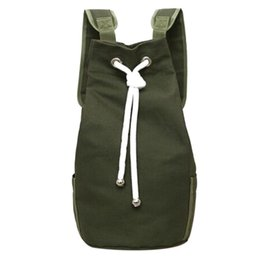 fabe72f98699 Casual Men Canvas Large Capacity Barrel Backpack Fashion Simple Travel  Rucksack Army Green Back Pack Teenager School Bag