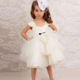 81a5c38c652 Fairy White Flower Girls Dresses Spaghetti Satin Tulle Tiered Skirts Short  Mini Kids Birthday Evening Party Dress First Communion Gowns
