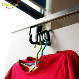 $enCountryForm.capitalKeyWord NZ - Delidge 1 pc Clothes Hanger Plastic Behind Doors Space Saving Hanger Hook 5 Hole Drying Rack Multi-Function Home