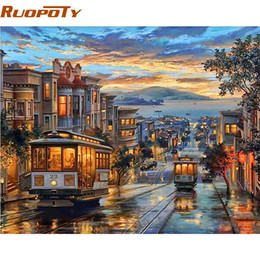 Bus Painting Australia - Ruopoty Frame City Night Bus Diy Oil Painting By Numbers Landscape Modern Wall Art Canvas Painting Unique Gift Wall Artwork Q190426