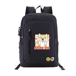 $enCountryForm.capitalKeyWord UK - Shiba Inu Japanese Doge Emoji Printing Backpack Kawaii Women Cute Backpack Canvas School Bags for Teenage Girls Women Travel Bag