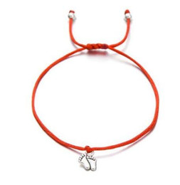 $enCountryForm.capitalKeyWord UK - Lovely Double Feet Bracelets - Adjustable Bracelets Lucky Red String Bracelets Vintage Silver Charm Bangle Jewelry Craft Gift 50pcs