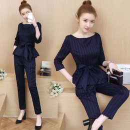 $enCountryForm.capitalKeyWord NZ - 2019 Spring Suit Women Three Quarter Sleeves Pullover O-neck Tops Ankle-length Pants Fashion 2 Piece Set Women Office