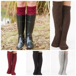 Warm Winter long boots over knees online shopping - Over Knee High Stockings Colors Knitted Winter Warm Long Socks Women Knitting Leg Warmers Boot Socks OOA6088