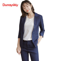 Discount office trouser for women Dunayskiy New Half Sleeve Office Lady Work Fashion Pant Suits 2 Piece Set for Women 2 Colors Solid Slim Blazer Jacket &