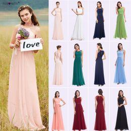$enCountryForm.capitalKeyWord Australia - Ever Pretty Bridesmaid Dresses 08742 Pink Peach Women Elegant Beading Chiffon Sleeveless Lace Plus Size Long Bridesmaid Dresses J190430