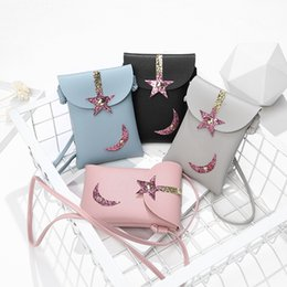 cell phone shapes NZ - Super light star shape sequins diagonal small square bag shopping single shoulder mobile phone bag factory direct for gifts