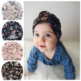 elastic skull cap Canada - 2019 New Donut Baby Hat Print Newborn Elastic Cotton Baby Beanie Cap 4 color Infant Turban Hats baby headband Toddler Photo Props B11