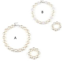 $enCountryForm.capitalKeyWord Australia - Girls Acrylic Pearls bead necklace 2pc set 20mm beaded necklace 41.5cm+bracelet pure white kids arylic jewelry sets for party performance