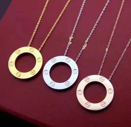 $enCountryForm.capitalKeyWord Australia - Round Circle Cartie Necklace Women Luxury Jewelry Stainless Steel Chain Pendant brand designer Necklace Collier Bijoux Femme Screw