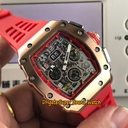 Big Rose Watches Australia - 15 Colors RM 11-03RG Big Date Flyback Chrono Skeleton Dial Miyota Automatic RM11-03 Mens Watch Rose Gold Case Red Rubber Strap Sport Watches